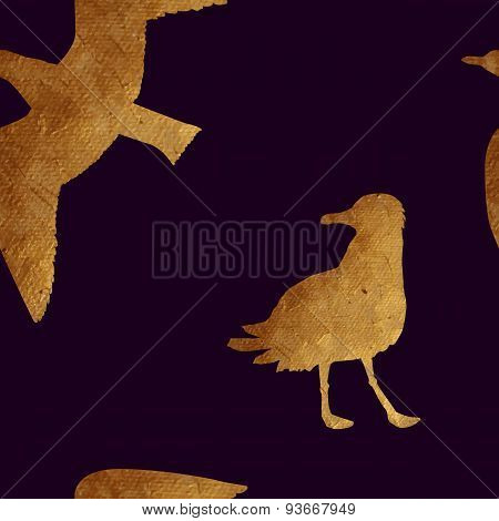 Seamless pattern with golden animals.