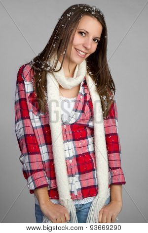 Pretty winter teen girl smiling