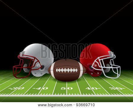 American Football Helmets And Ball On Field
