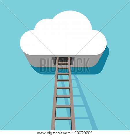 Cloud with ladder leading inside 3D flat design template.