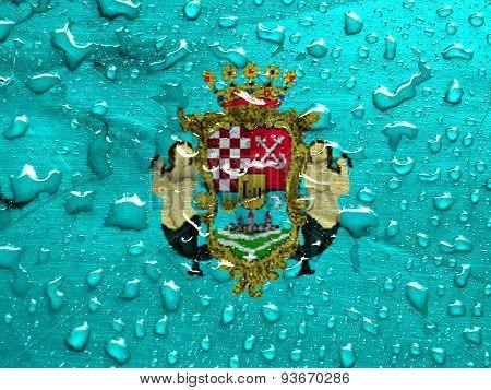 flag of Karlovac with rain drops