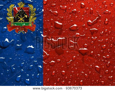 flag of Kemerovo oblast with rain drops