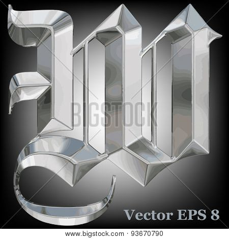 Vector letter W from metal gothic alphabet. Uppercase metal font collection. EPS 8