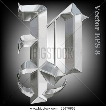 Vector letter P from metal gothic alphabet. Uppercase metal font collection. EPS 8