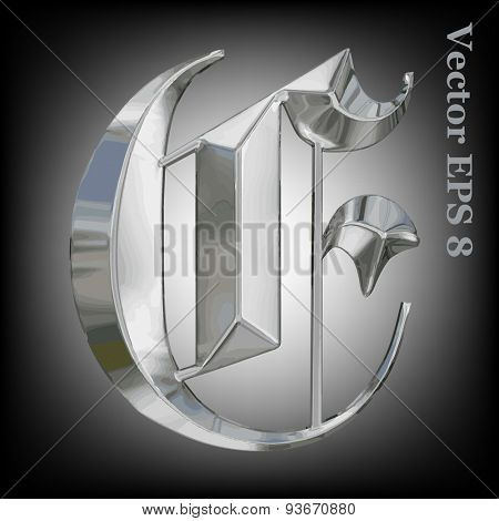 Vector letter E from metal gothic alphabet. Uppercase metal font collection. EPS 8
