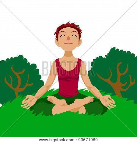 Girl in yoga lotus position.