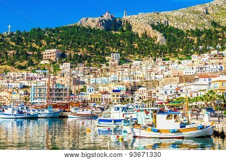 Port with small fishermen's boats on Greek Island