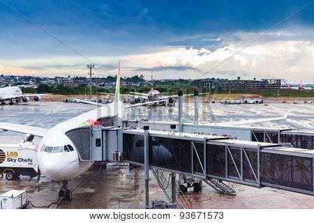 SAO PAULO, BRAZIL - CIRCA JAN 2015: TAP Airplane in Guarulhos Airport in Sao Paulo, Brazil.
