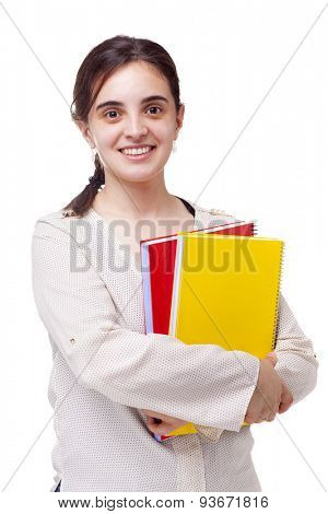 Smiling young female student isolated on white background