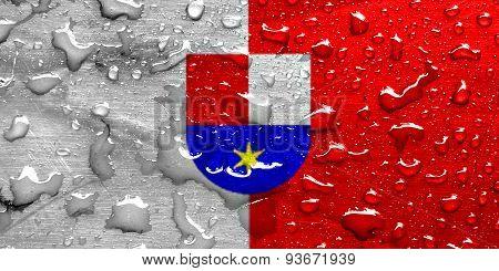 flag of Medjimurje with rain drops