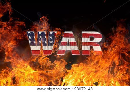 Grunge American flag, war concept with fire flames, close-up.