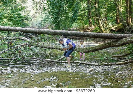 Little Girl Exploring Big Nature With Her Family