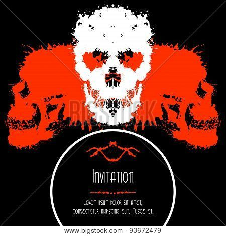 Scary Skulls Invitation or Postcard for Halloween