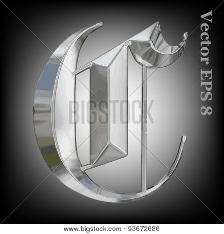 Vector letter C from metal gothic alphabet. Uppercase metal font collection. EPS 8