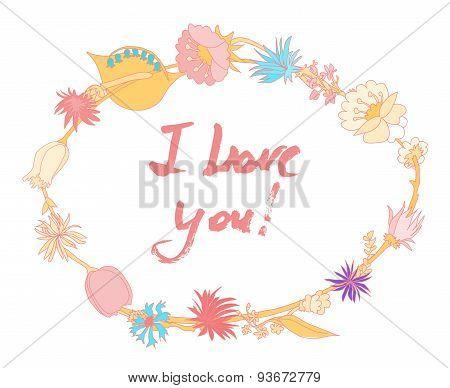 Grunge valentine card with hand drawn text.