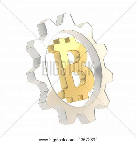 Bitcoin sign inside of a cogwheel gear isolated
