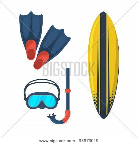 Goggles mask. Flippers. Surfing board.