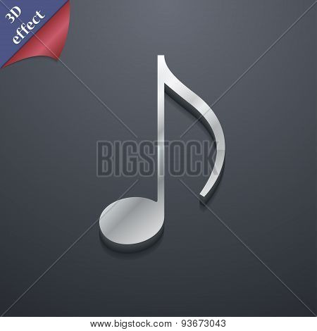 Musical Note, Music, Ringtone Icon Symbol. 3D Style. Trendy, Modern Design With Space For Your Text