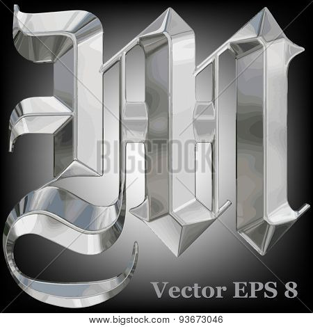 Vector letter M from metal gothic alphabet. Uppercase metal font collection. EPS 8