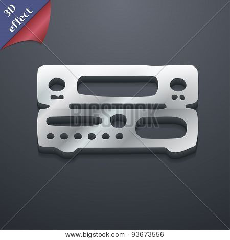 Radio, Receiver, Amplifier Icon Symbol. 3D Style. Trendy, Modern Design With Space For Your Text Vec