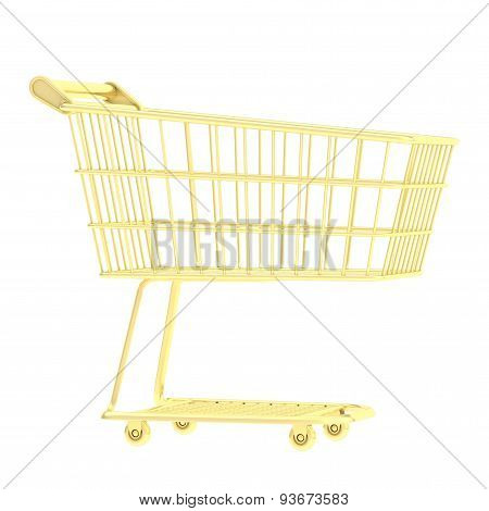 Golden shopping cart isolated