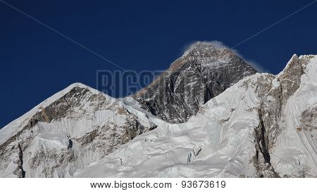 Peak Of Mt Everest And Glacier