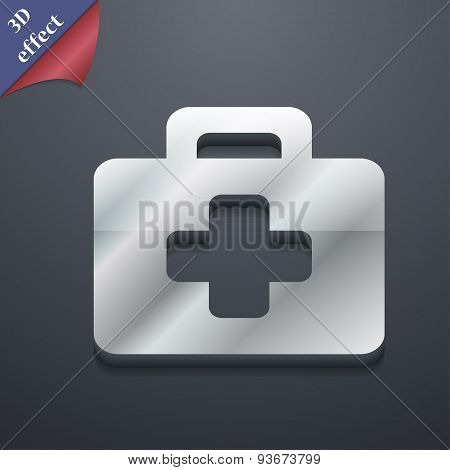 First Aid Kit Icon Symbol. 3D Style. Trendy, Modern Design With Space For Your Text Vector