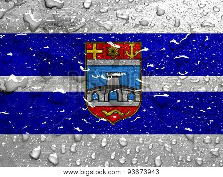 flag of Osijek-Baranja County with rain drops