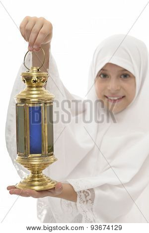 Festive Ramadan Lantern In Hands Of Happy Muslim Girl