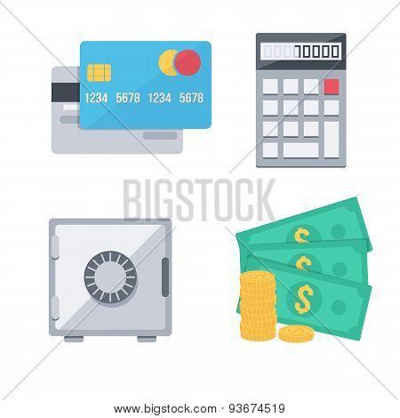 Finance money icons set.