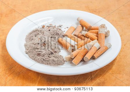 Pile Of Cigarette Butts And Ashes