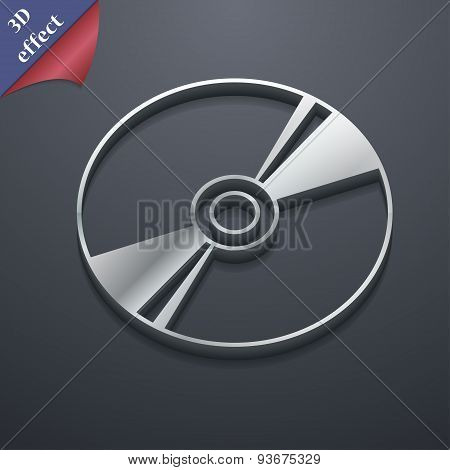 CD, DVD, Compact Disk, Blu-Ray Icon Symbol. 3D Style. Trendy, Modern Design With Space For Your Text