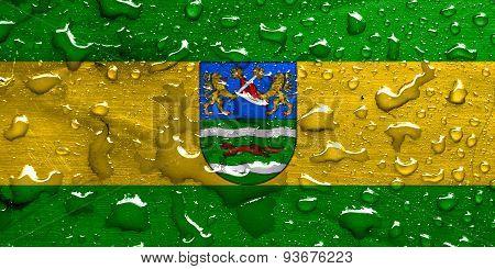 flag of Pozega-Slavonia with rain drops