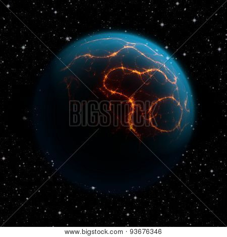 Abstract Planet With Blue Atmosphere And Huge Cracks With Lava Flowing To The Surface