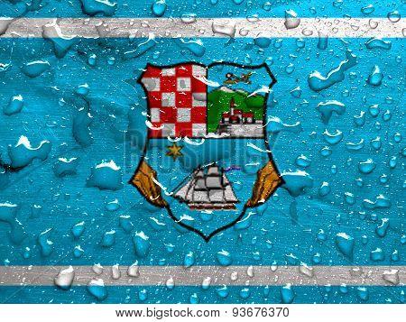 flag of Primorje-Gorski Kotar County with rain drops