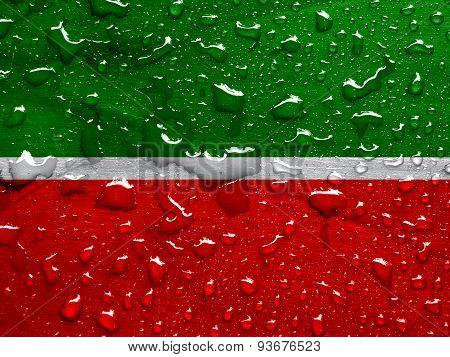 flag of Republic of Tatarstan with rain drops