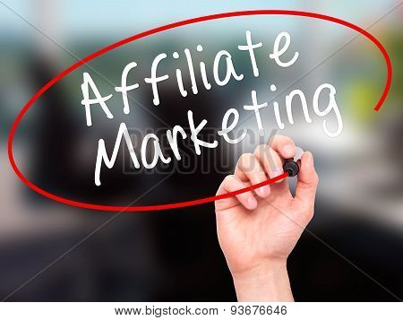 Man Hand writing Affiliate Marketing with black marker on visual screen.