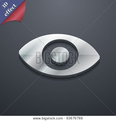 Sixth Sense, The Eye Icon Symbol. 3D Style. Trendy, Modern Design With Space For Your Text Vector