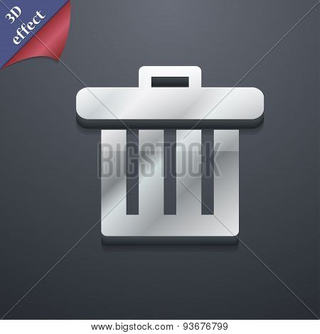 Recycle Bin Icon Symbol. 3D Style. Trendy, Modern Design With Space For Your Text Vector