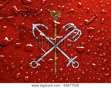 flag of Saint Petersburg with rain drops