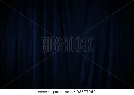 Curtain Or Drapes Dark Blue Background