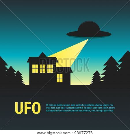 UFO With House In Woods. Cartoon Brochure. Vector Illustration