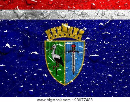 flag of Sisak-Moslavina County with rain drops