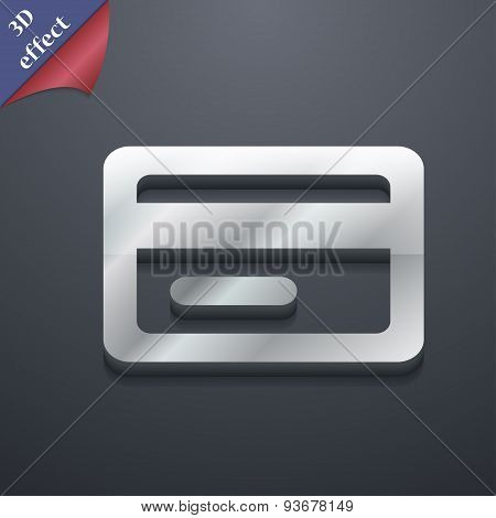 Credit Card Icon Symbol. 3D Style. Trendy, Modern Design With Space For Your Text Vector
