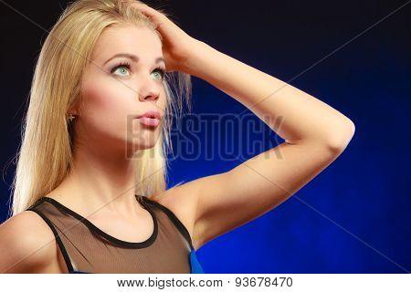 Portrait Pensive Girl Long Blond Hair