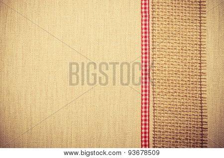 Jute Ribbon On Linen Cloth Background