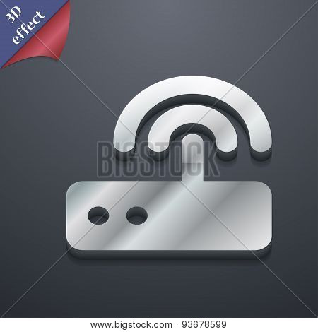 Wi Fi Router Icon Symbol. 3D Style. Trendy, Modern Design With Space For Your Text Vector