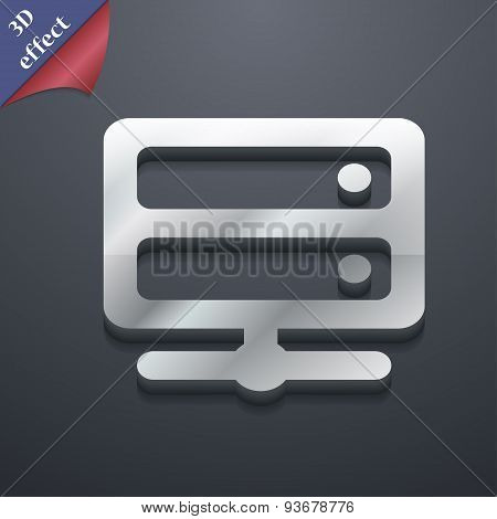 Server Icon Symbol. 3D Style. Trendy, Modern Design With Space For Your Text Vector