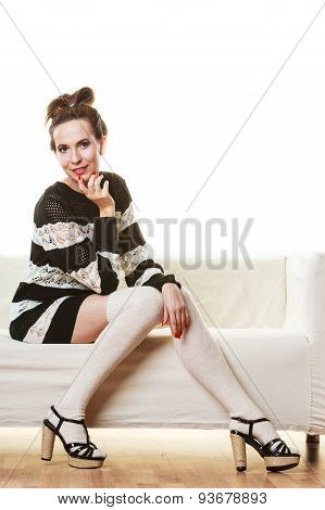 Girl Fashionable Dress High Heels Posing On Couch.