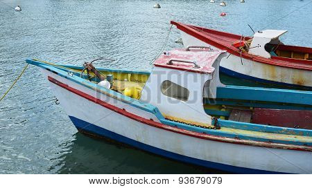 Weathered Fishing Boats in Caribbean Port